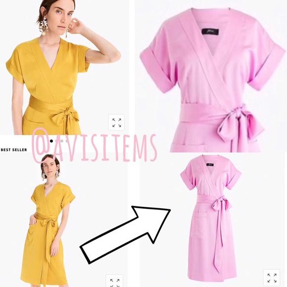 69d4238286f3 J. Crew Dresses | Jcrew Short Sleeve Wrap Dress Satin Back Crepe ...